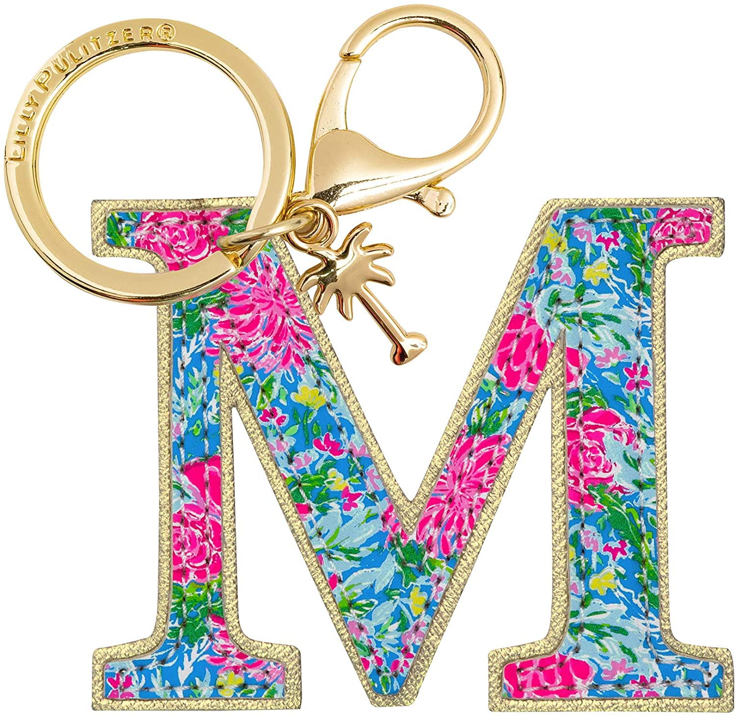 Lilly Pulitzer Leatherette Initial Keychain, Letter Bag Charm for Women