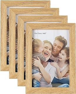 HelaCueil Cadres Photo en Bois, Vintage Cadre en Bois Rustique Cadre Photo (Couleur du Bois, Lot de 4 en 10x15 cm)