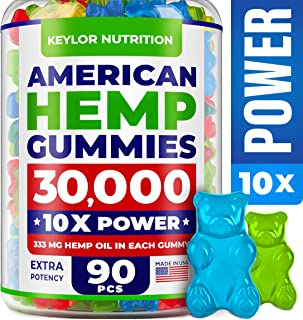 KEYLOR NUTRITION Premium Hemp Gummies – 30000 MG – All Natural Ingredients - Relief for Stress, Inflammation, Sleep, Anxiety, Depression – Vitamins & Omega 3,6,9 – Made in The USA - 90 pcs