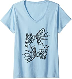 Womens Zodiac Pisces Art Sign Symbol Fish Astrology Drawing Gifts V-Neck T-Shirt