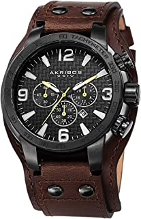 Men's Chronograph Watch - 3 Subdials, Seconds, Minutes and GMT Plus Date Window on Genuine Leather Cuff Strap - AK727