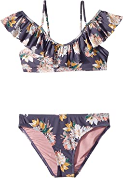 Freefall Off the Shoulder Top Swim Set (Big Kids)