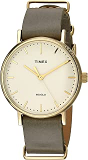 Timex Unisex-Adult Quartz Watch, Analog Display and Leather Strap TW2P98500