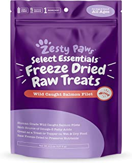 Freeze Dried Salmon Filet Treats for Dogs & Cats - with Pure Raw & Wild Caught Pacific Sockeye Salmon Fish - Omega 3 EPA +...