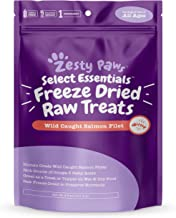 Zesty Paws Freeze Dried Salmon Filet Treats Dogs & Cats - with Pure Raw & Wild Caught Pacific Sockeye Salmon Fish - Omega 3 Epa + Dha Fatty Acids Joint & Immune Support + Skin & Coat Health - 4.4 Oz