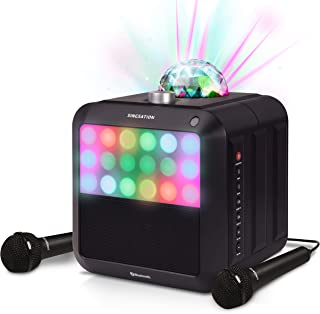 Portable Karaoke Machine - Singsation Star Burst - System Comes w/ 2 Mics, Room-Filling Light Show, Retro Light Panel & Wo...