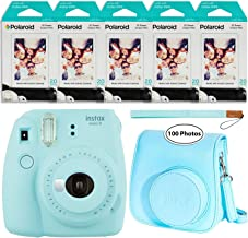 Fujifilm Instax Mini 9 Instant Camera (Ice Blue), Groovy Case and 5x Twin Pack Instant Film (100 Sheets) Bundle