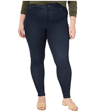 HUE Plus Size High-Waist Ultra Soft Denim Leggings (Black/Indigo Wash) Women