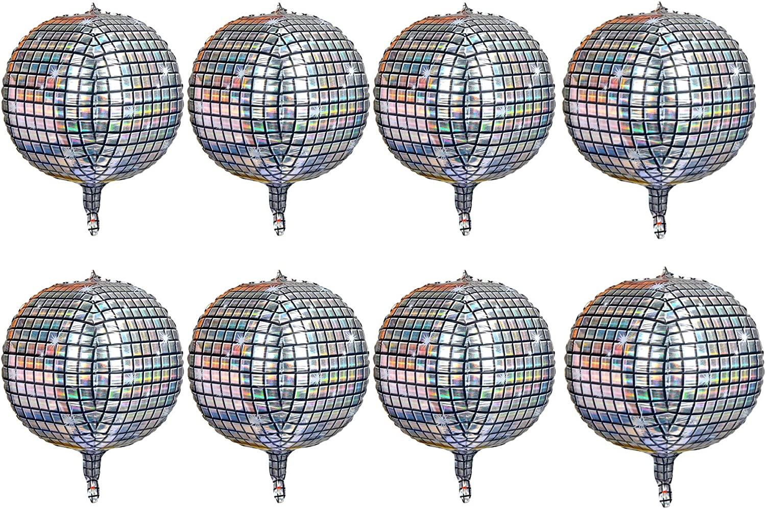8 Count 22 Inch Disco Ball Balloon 4D laser Inflata Max 76% OFF Large Popular product Silver