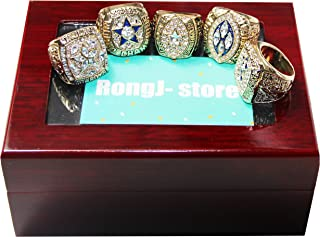 5 Golden Size 9 &13 Dallas Cowboys Supper Bowl Championship Rings Full Set with a Cherrywood Display Box for Father's Day Fans Gift