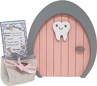 Puerta Ratoncito Pérez o Hada de los dientes de madera rosa, con saquito. Producto artesanal hecho en España