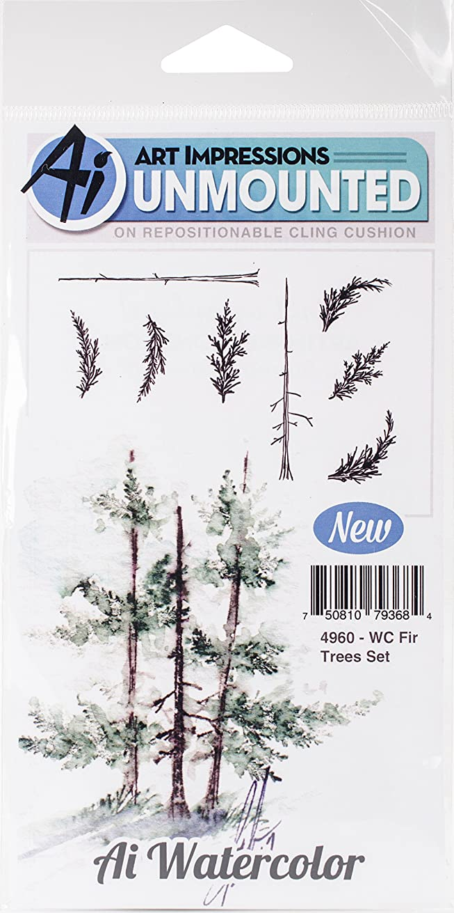 Art Impressions WC4960 Watercolor Cling Rubber Stamps, Fir Trees