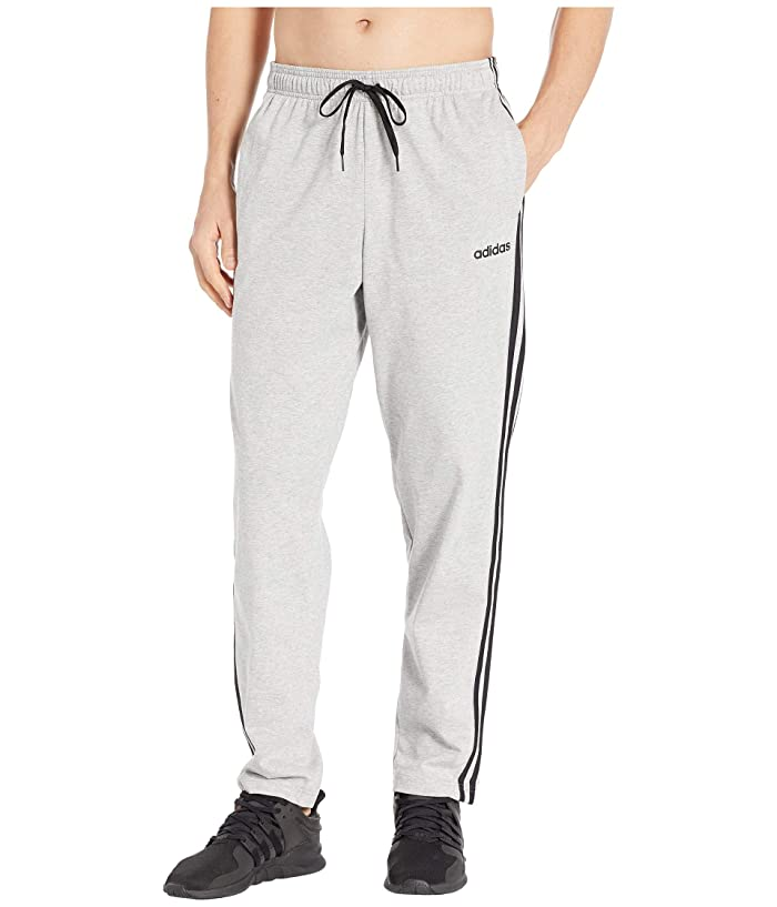 adidas 3-Stripe Jersey Pants (Medium Grey Heather/Black) Men