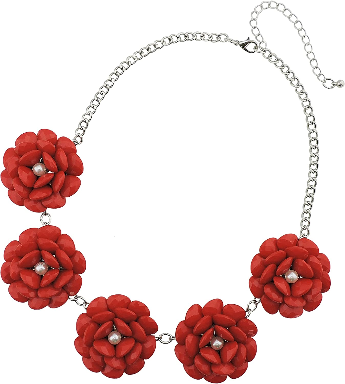 Firstmeet Statement Collar Flower Necklace for Women