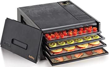 Excalibur 2400X 4-Tray Electric Food Dehydrator with with Adjustable Thermostat Accurate Temperature Control Faster and Efficient Drying 4-Tray, Black (Renewed)