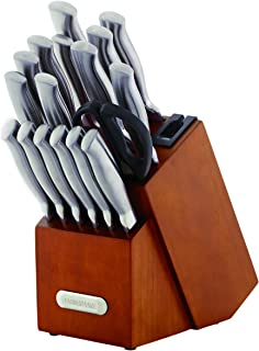 Farberware 5190024 18-Piece Forged Stainless Steel Knife Set with Built-in Edgekeeper Knife Sharpener