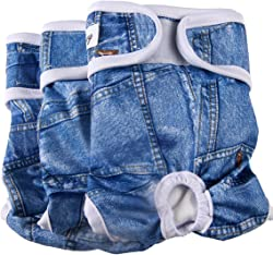 JoyDaog 3 Pack Small Dog Diapers for Female Reusable Premium Jean Puppy Wrap