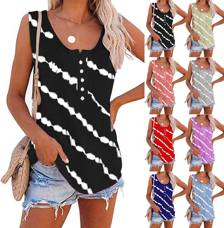 Tank Tops for Women Casual, Women's Botton Down Spaghetti Strap Vest Tops Sleeveless Loose Cami Striped Tops