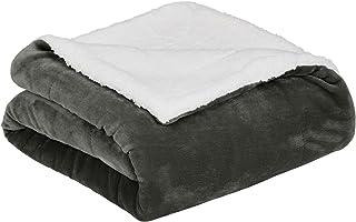 AmazonBasics Micromink Sherpa Blanket - Twin, Charcoal
