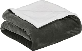 AmazonBasics Soft Micromink Sherpa Throw Blanket - Full or Queen, Charcoal