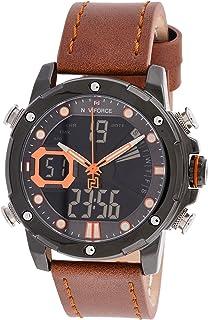 ساعة انالوج كلاسيكية بمينا سوداء وسوار جلد اصلي للرجال من نافي فورس - NF9172L-BOLBN