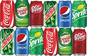 Assortment of Soda, Coca-Cola, Pepsi, Dr Pepper, Mountain Dew, Sprite and Ginger Ale Drinks Refrigerator Restock Kit (Pack of 12)