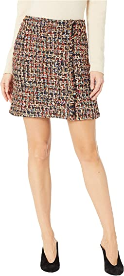Tweed Mini Skirt with Self Fringe and Buttons