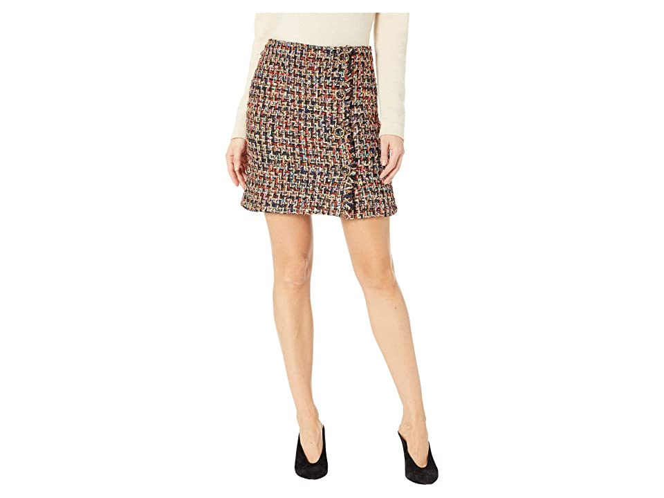 J.O.A. Tweed Mini Skirt with Self Fringe and Buttons (Black Tweed) Women