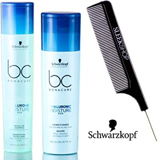 Schwarzkopf BC Bonacure Hyaluronic Moisture Kick Micellar Shampoo & Conditioner for Normal to Dry Hair DUO SET 250ml/8.4 oz (w/ Sleek Steel Pin Tail Comb)