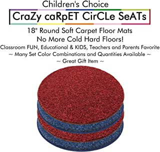 """Set 4 - Super Hero #2 Kids Crazy Carpet Circle Seats 18"""" Round Soft Warm Floor Mat - Cushions   Classroom, Story Time, Group Activity, Time-Out Spot Marker and Fun. Home Bedroom & Play Areas"""