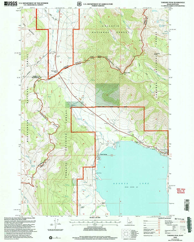 Targhee Peak ID topo map, 1 24000 Scale, 7.5 X 7.5 Minute, Historical, 2000, Updated 2005, 26.7 x 21.4 in