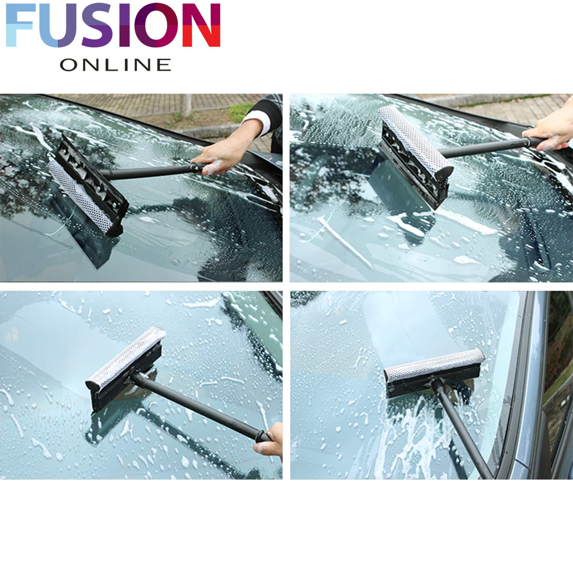 EVELYN LIVING 2 en 1 espátula telescópica para ventana con limpiaparabrisas de esponja, limpiacristales para coche, mampara de ducha, cuarto de baño: Amazon.es: Hogar
