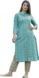 Oxyco Jaipuri Cotton checks Kurta Pant Set for women's