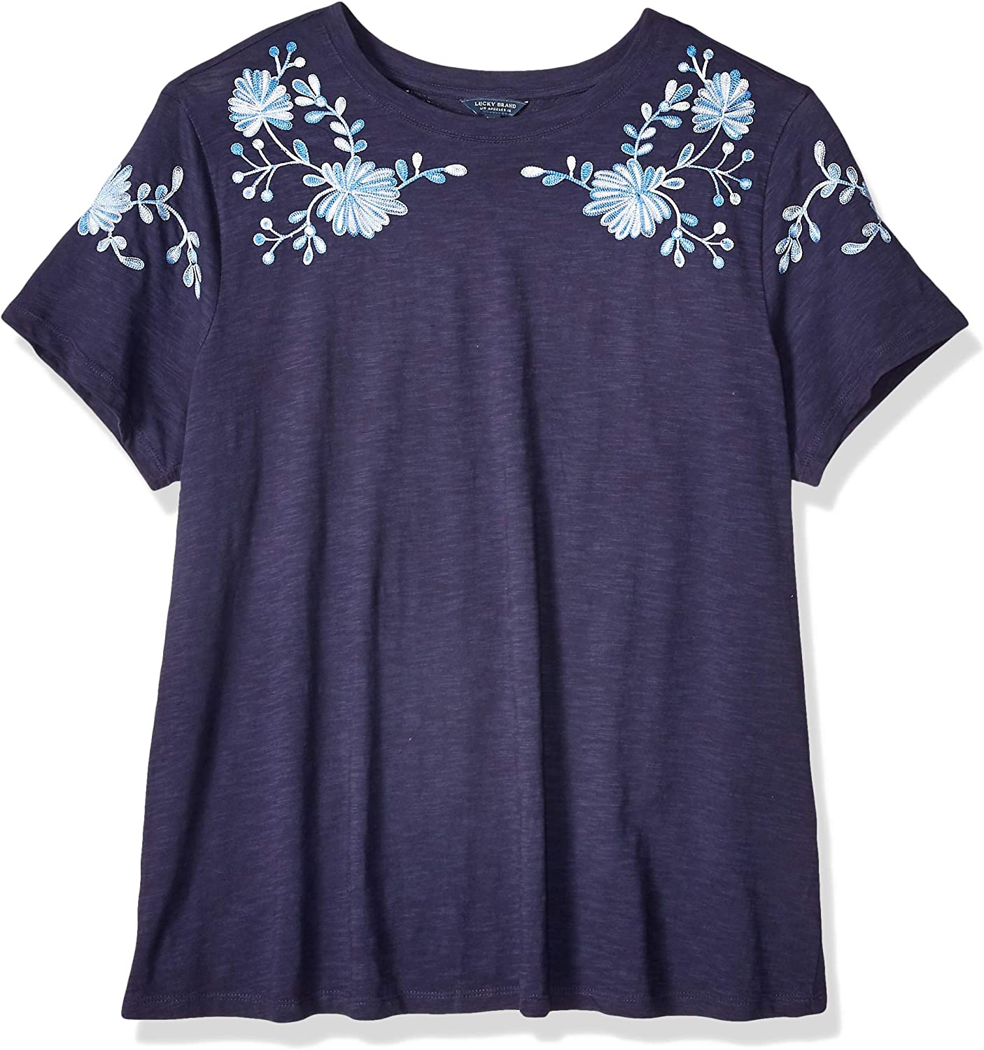 Lucky Brand Womens Plus Size Embroidered Shoulder Tee TShirt