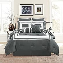 KingLinen 12 Piece Bernard Gray Comforter Set with Sheets Queen