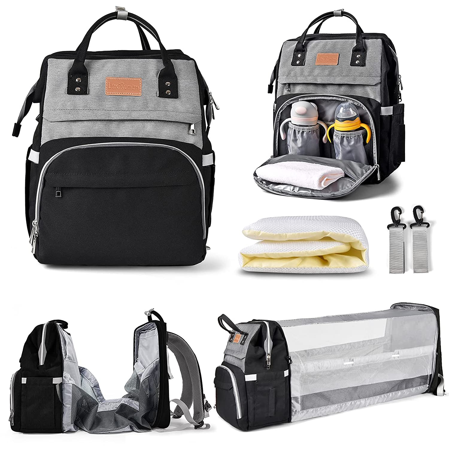 Diaper Bag Backpack Multi-Function Waterproof Travel Backpack Nappy Bags for Baby Care,Diaper Bag with Foldable Baby Bed and USB Large Capacity,Stylish and Durable-Black Gray