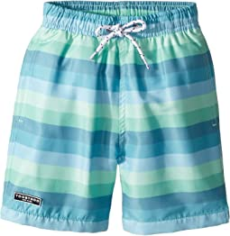 Toobydoo Touch of Green Stripe Swim Shorts (Infant/Toddler/Little Kids/Big Kids)