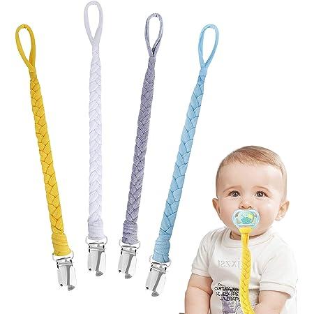 Attache Sucette pour Bebe Lot de 4 Pièces Attache Tétine en Coton pour Les Filles Teething Bébés Garçons CadeauTeether Jouets Drool Bib #8