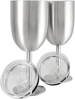 Set of 2 || Double Wall Vacuum Sealed Insulated Wine Glass/Goblet with Splash Proof Lid || Premium Food Grade 18/8 Stainless Steel || BPA-Free by Frost Bottle