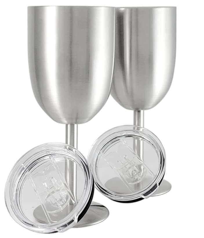Set of 2    Double Wall Vacuum Sealed Insulated Wine Glass/Goblet with Splash Proof Lid    Premium Food Grade 18/8 Stainless Steel    BPA-Free by Frost Bottle