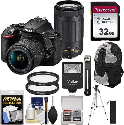 $637 Get Nikon D5600 Wi-Fi Digital SLR Camera with 18-55mm VR & 70-300mm DX AF-P Lenses with 32GB Card + Backpack + Flash + Tripod + Kit