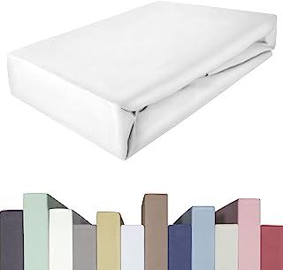 Lot de 2 draps-housses pour lit à sommier tapissier & matelas jusqu'à 40 cm de haut | Qualité premium | Coton avec 5 % éla...