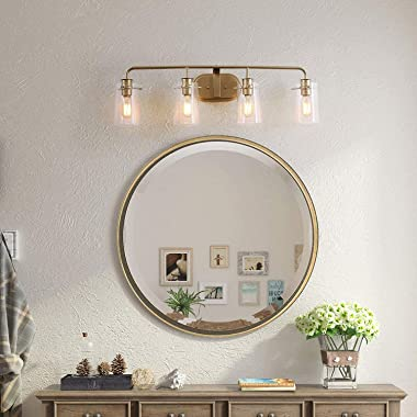 KSANA Vanity Lights, Bathroom Fixtures Over Mirror in Antique Brass Metal Finish with Clear Bubbled Glass Shades, Mid-Century