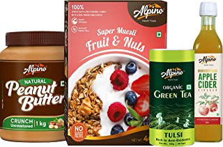Alpino Breakfast Combo | Natural Peanut Butter Crunch 1 KG Unsweetened | Super Muesli Fruit & Nuts 400 G | Organic Green T...