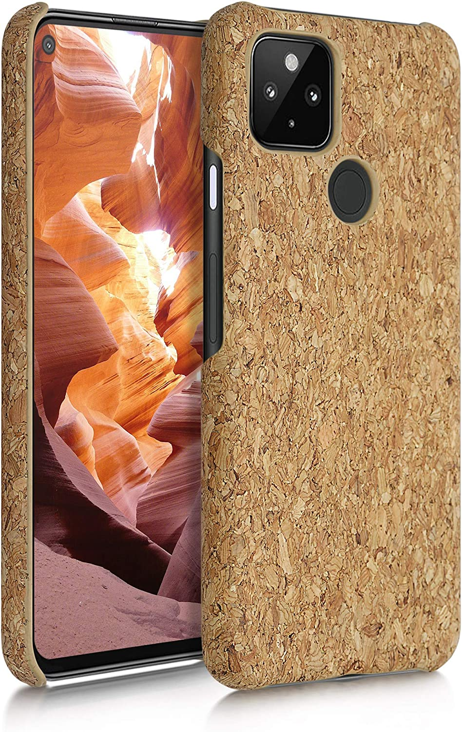 kwmobile Case Compatible with Google Pixel 4a 5G - Case Protective Cork Mobile Cell Phone Cover - Light Brown