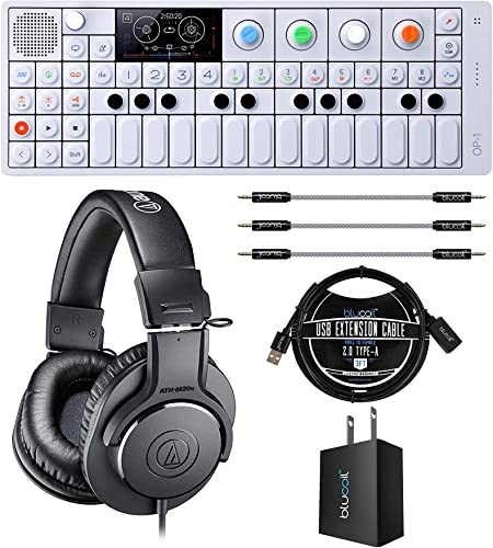 """discount Teenage Engineering OP-1 Portable Synthesizer, Sampler, wholesale and Controller Bundle with ATH-M20x Professional Monitor Headphones, Blucoil USB Wall Adapter, 3' USB Extension Cable, and 3x 2021 7"""" Aux Cables outlet sale"""