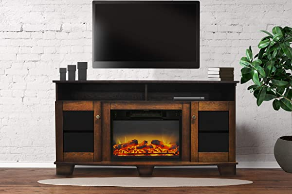 Cambridge CAM6022 1WALLG2 Savona 59 In Electric Fireplace In Walnut With Entertainment Stand And Enhanced Log Display