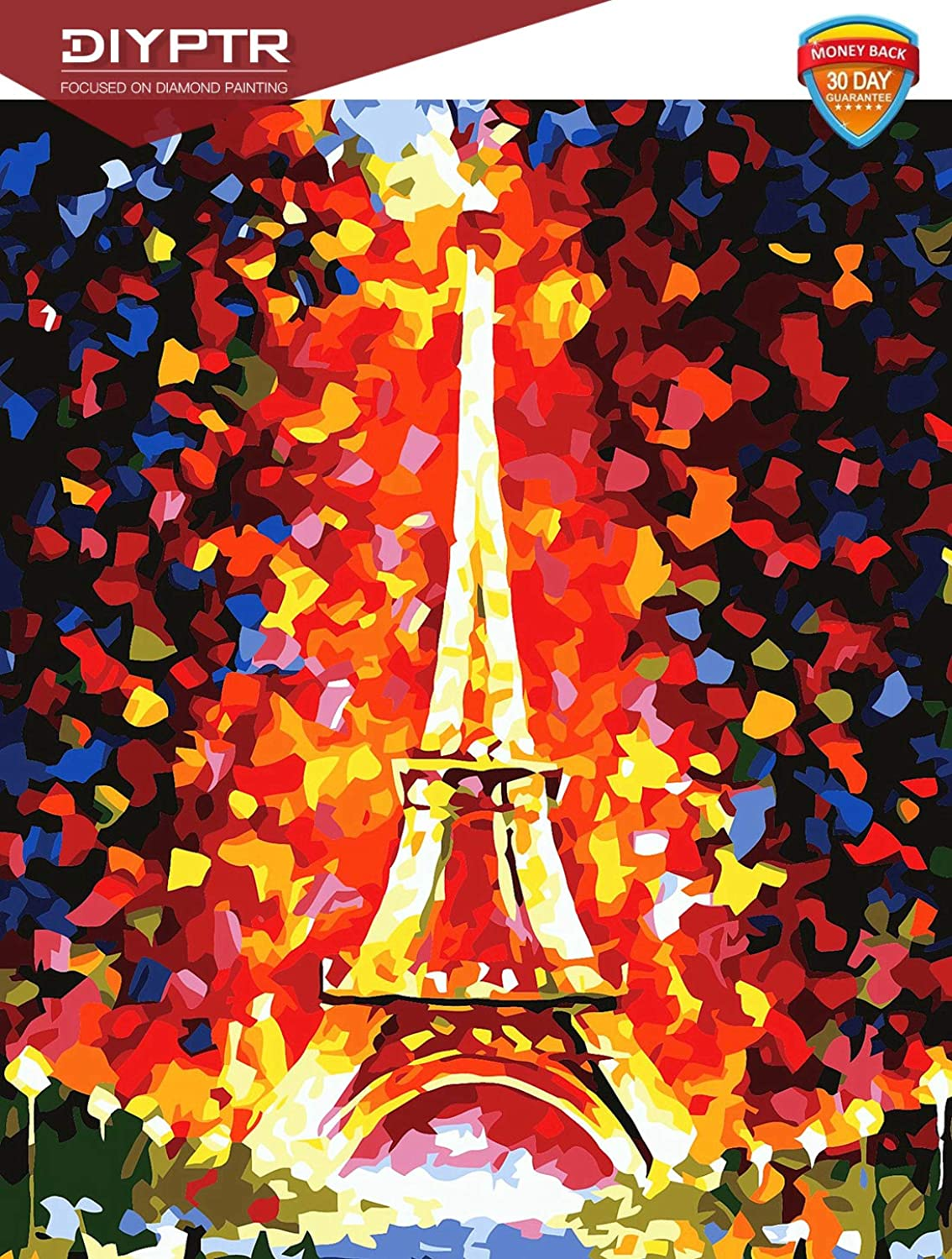 DIY 5D Diamond Painting Kit, Full Drill Rhinestone Embroidery Arts Craft Canvas Wall Decor, Easy to Paint, Paris Eiffel Tower 11.8 x 15.8 inch