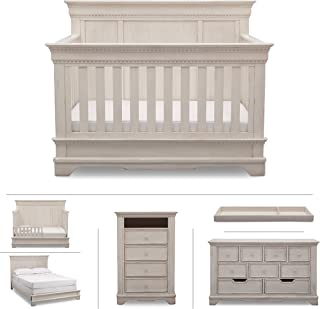 Delta Children Baby Nursery Furniture Set in White Antique – Convertible Crib, Dresser, Chest, Changing Top, Toddler and Full Size Conversions – 6 Piece Simmons Tivoli Collection