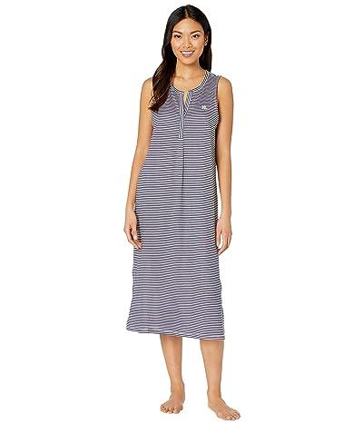 LAUREN Ralph Lauren Cotton Rayon Jersey Knit Sleeveless V-Neck Ballet Gown (Navy Stripe) Women